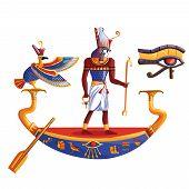 Ancient Egypt Sun God Ra Or Horus Cartoon Vector Illustration. Egyptian Culture Religious Symbols, A poster