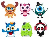 Cute Little Monsters Set Vector Characters. Cute Monster  Creatures With Funny And Crazy Faces  Isol poster