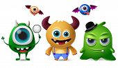 Cute Monsters Vector Character Set. Little Cute Monsters With Scary And Crazy Faces For Design Eleme poster
