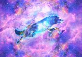 Abstract Artistic Digital Paint Of A Colorful Wolf Jumping Ahead In A Multicolored Galactic Nebula B poster