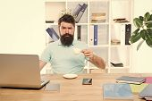 King Of Office. Head Of Department. Head Office Concept. Man Bearded Manager Businessman Entrepreneu poster