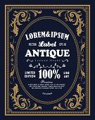 Vintage Frame Border Label Retro Hand Drawn Engraving Antique Vector Illustration poster