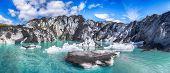 Fantastic View On Solheimajokull Glacier In Katla Geopark On Icelandic Atlantic South Coast. Locatio poster