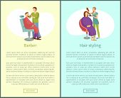 Barber Shop And Hair Styling Web Posters Hairdresser. Hairstyle Salons With Hairdressers. Cutting Or poster