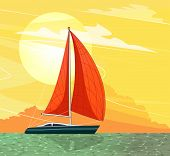 Sailing Ship At Sunset Banner In Cartoon Style. Top View Sail Boat On Deep Blue Sea Water. Luxury Ya poster