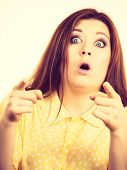 Shock Face Expressions Concept. Shocked Amazed Woman Gesturing With Hands Seeing Something Surprisin poster