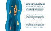 Outdoors Activities Background Or Banner. Kayak Among Leaves And Big Fishes In The River. Outdoor, R poster