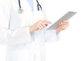 picture of health-care  - Doctor in white coat with stethoscope holding and touching on digital tablet pc - JPG