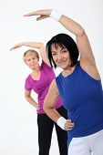 picture of transpiration  - two senior women doing fitness - JPG