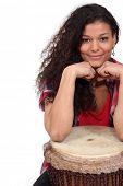 picture of bongo  - Woman sat with bongo - JPG