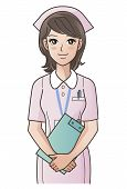 picture of clip-art staff  - Young cute nurse with clipboard smiling putting the hands together - JPG