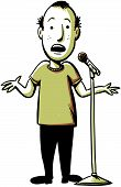 foto of sarcasm  - A cartoon comedian performs with a microphone - JPG