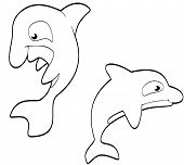 picture of grampus  - Smiling set of cartoon killer whales in black and white - JPG