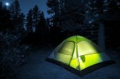 foto of illuminating  - Small Camping Tent Illuminated Inside - JPG