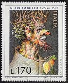 ITALY - CIRCA 1977: a stamp printed in Italy shows painting of Giuseppe Arcimboldo (ca. 1527 - 1593)