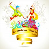 stock photo of navratri  - illustration of couple playing dandiya on Navratri - JPG