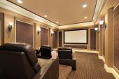 image of home theater  - Home theater in luxury house with large TV screen - JPG