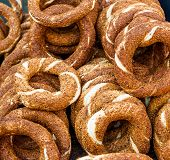 Turkish Bagel, Also Known As Simit. It Is A Circular Bread With Sesame Seeds. poster