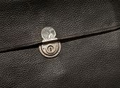 picture of hasp  - Vintage closed leather folder with metal clasp - JPG