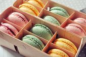 Box With Colorful Macaroons
