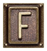 Metal button alphabet letter F