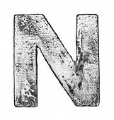 Metal alloy alphabet letter N