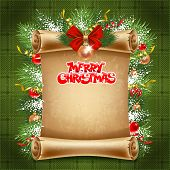 Vertical old scroll paper with christmas decorations and space for your text