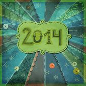 2014, New Year - New Year poster, with doodle numbers and label, hand drawn and sewn on textured pat