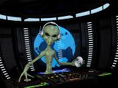 stock photo of alien  - Alien DJ  - JPG