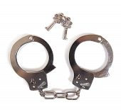 image of sado-masochism  - Handcuffs and keys on a white background - JPG