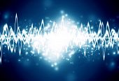 picture of vibrator  - bright sound wave on a dark blue background - JPG