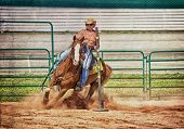 image of barrel racer  - Western horse and rider competing in pole bending and barrel racing competition with texture - JPG