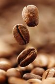 stock photo of coffee crop  - Coffee beans falling into a heap - JPG