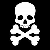 stock photo of skull cross bones  - White skull with two bones on black background - JPG