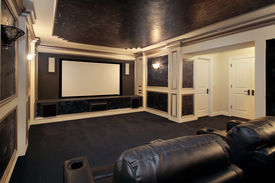 picture of movie theater  - Theather room in luxury home with leather chairs - JPG