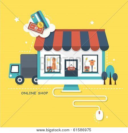 Flat Design Illustration Concept Of Online Shop poster
