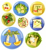 stock photo of libra  - Collage of fun food for kids isolated on white - JPG