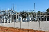 image of substation  - A High Voltage Electric Substation with Transformers - JPG