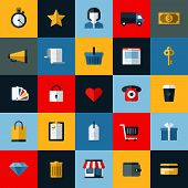 Set Of Flat Vector Online Shopping And E-commerce Themed Icons For Websites And Mobile applications