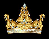 stock photo of crown jewels  - illustration of royal gold crown with jewels - JPG