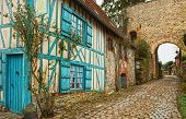Old street  in medieval village. Gerberoy is a commune in the Oise department in northern France. Fo