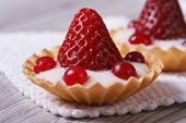 Tartlets With Strawberries, Cranberries And Cream Macro