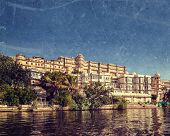Vintage retro hipster style travel image of India luxury tourism concept background - Udaipur City P