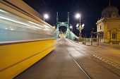 Bridge By Night With Blurred Motion Tram