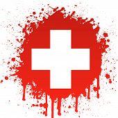 Постер, плакат: белый крест в красных брызг