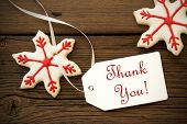 pic of christmas cookie  - Red White Christmas Star Cookies with Thank You Label Christmas or Winter Background - JPG