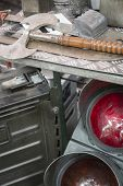 stock photo of thrift store  - old traffic light and stuff on a flea market - JPG