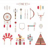 image of wigwams  - Vector colorful ethnic set with dream catcher - JPG
