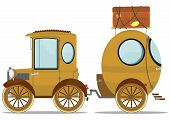 image of caravan  - Funny vintage car with a caravan - JPG