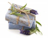 picture of lavender plant  - closeup of lavender soap bars with fresh flowers isolated on white background - JPG